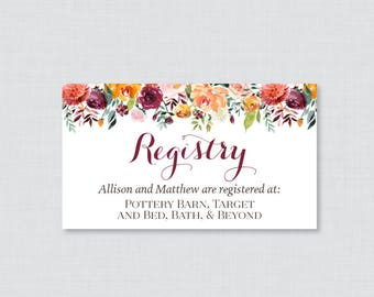 Printable OR Printed Wedding Registry Cards - Fall Floral Registry Invitation Inserts, Autumn Flower Registry Inserts, Orange Red 0008