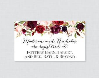 Printable OR Printed Wedding Registry Cards - Marsala and Pink Floral Wedding Registry Invitation Inserts, Wine Flower Registry Inserts 0006