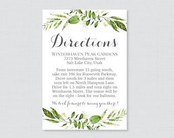 Printable OR Printed Wedding Direction Cards - Green Wedding Directions Inserts - Rustic Greenery Wreath Directions Invitation Insert 0007