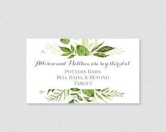 Printable OR Printed Wedding Registry Cards - Green Wedding Registry Invitation Inserts, Botanical Greenery Registry Inserts 0007
