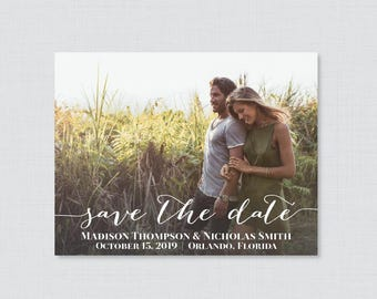 Printable OR Printed Photo Save the Date Cards - Photo Save our Date Cards for Wedding - Save the Dates Card with Landscape Picture 0004
