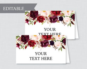 EDITABLE Tent Cards - Printable Marsala Wedding Tent Cards, Rustic Pink Flower Wedding Buffet Labels, Editable Tent Cards for Wedding 0006