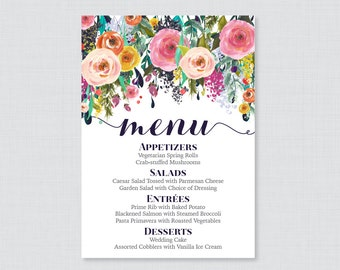 Printable OR Printed Wedding Menu Cards - Floral Wedding Menu Cards, Colorful Flowers Menu Cards for Wedding in 5 x 7 Size Customized 0003-B