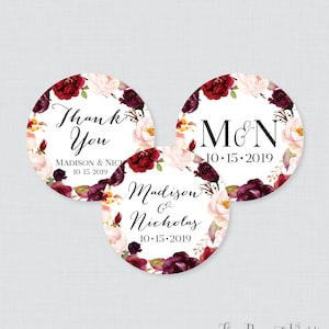 and Pink Flower Wedding Stickers Printable OR Printed Blue Floral Circle Favor Labels Personalized Favor Tags for Weddings 0048 Purple