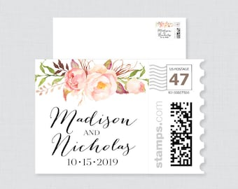 Pink Floral Wedding Postage Stamps Design - Rustic Flower Wedding Invitation Stamp Design - Personalized Wedding Stamps for Invitations 0004