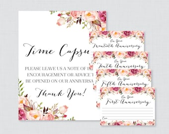 Printable Wedding Time Capsule Activity - Pink Floral Advice for the Bride and Groom - Rustic Flower Wedding Reception Game/Activity 0004