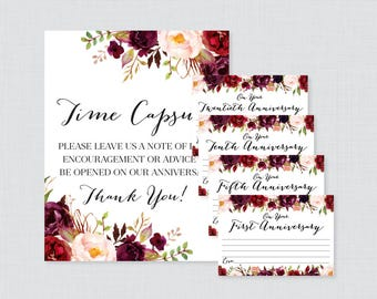 Printable Wedding Time Capsule Activity - Marsala Floral Advice for the Bride and Groom - Rustic Flower Wedding Reception Game/Activity 0006