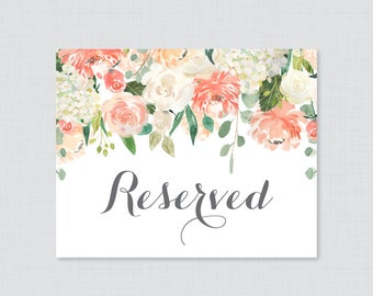 printable wedding reserved sign floral reserved seating sign etsy