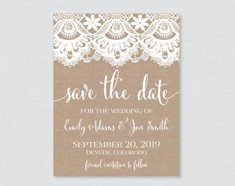 Mason Jar Burlap and Lace Save the Date Card
