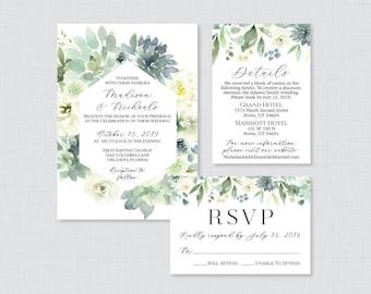 Green Succulent Invitations Greenery White Leaves Wedding 0023 Green Wedding Invites Printable OR Printed Succulent Wedding Invitations