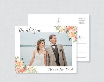 Printable OR Printed Photo Thank You Postcards - Peach Floral Picture Thank You Postcards for Wedding - Peach Thank You Post Cards 0009