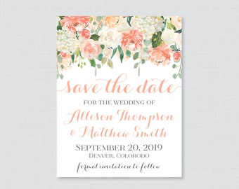 Save the Date Magnets - Peach Floral Save the Date Magnets for Wedding - Peach and Cream Flower Wedding Save the Date Fridge Magnets 0009