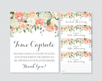 Printable Wedding Time Capsule Activity - Peach Floral Advice for the Bride and Groom - Peach Flower Wedding Reception Game/Activity 0009