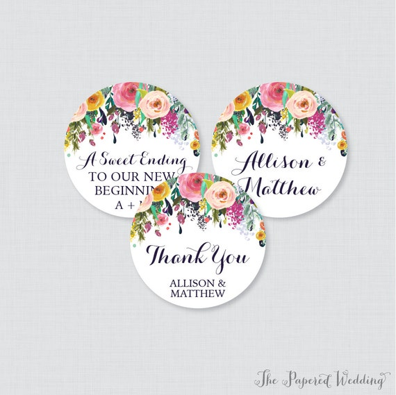 Printable OR Printed Wedding Stickers with Custom Fonts and Colors Personalized Wedding Favor TagsStickers 0032 Circle Wedding Labels