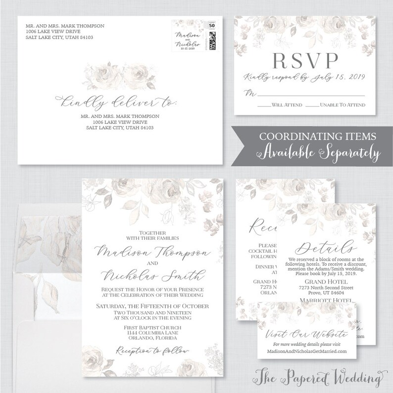 Gray Floral Save the Date Cards for Wedding Printable OR Printed Save the Date Cards Sketched Grey Flower Wedding Save Our Dates 0015