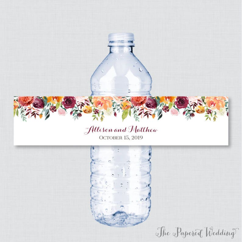 picture relating to Free Printable Wedding Water Bottle Labels identify Printable OR Revealed Wedding day Drinking water Bottle Labels - Rustic Tumble Flower Drinking water Bottle Labels - Autumn Floral Custom-made Bottle Labels 0008