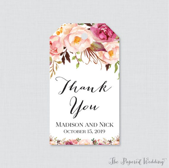 Printable Or Printed Wedding Favor Gift Tags Pink Floral Etsy