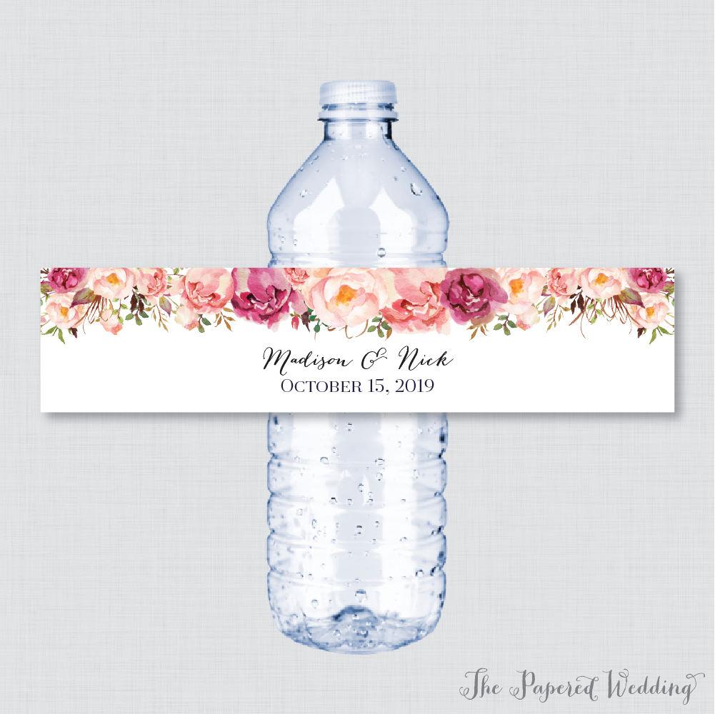 Printable OR Printed Wedding Water Bottle Labels Rustic ...