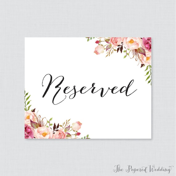 Comprehensive image in printable reserved signs for wedding