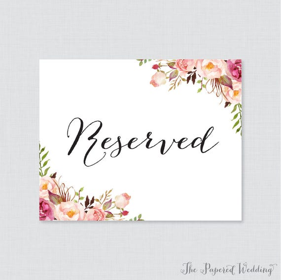Tactueux image for printable reserved signs for wedding