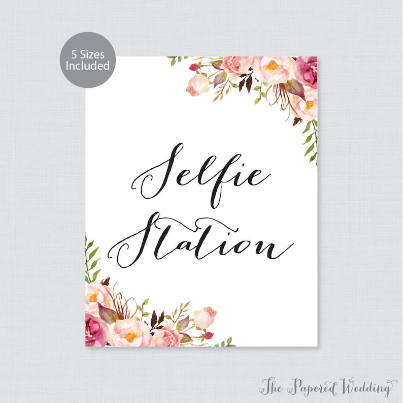 photo regarding Selfie Station Sign Free Printable named Printable Selfie Station Indication - Crimson Floral Photograph Booth Indicator, Rustic Crimson Flower Marriage ceremony Selfie Station Signal/Poster, Red Selfie Indicator 0004