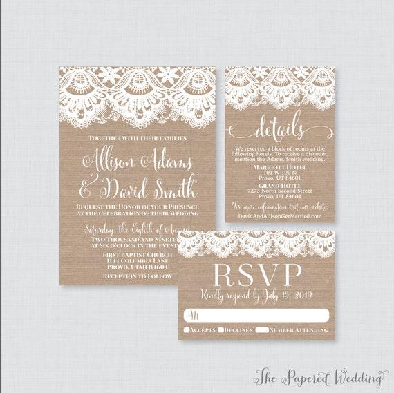 Rustic Wedding Invites with Burlap Lace 0002 Printable OR Printed Wedding Invitation Suite Burlap and Lace Wedding Invitation Package