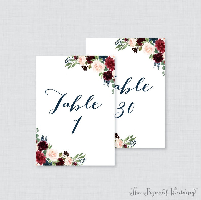 photograph regarding Printable Wedding Table Numbers titled Printable Wedding day Desk Quantities - Military services and Marsala Floral Desk Figures for Marriage ceremony, Fast Down load Desk Quantities with Figures 1-30, 0010
