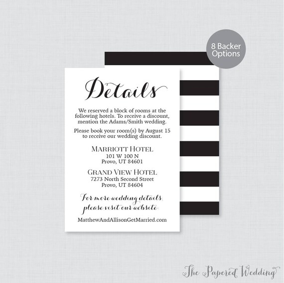 Printable OR Printed Wedding Details Cards Black and White   Etsy