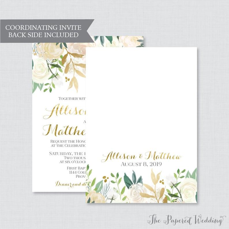 Printable OR Printed Wedding Invitations 0013 Gold and White Floral Wedding Invitations Faux Gold Foil and Cream Flower Wedding Invites