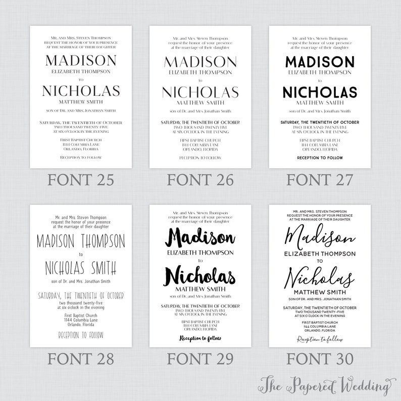 Simple Printable OR Printed Wedding Invitations with Custom Colors and Fonts Custom Wedding Invites with Traditional Layout 0032