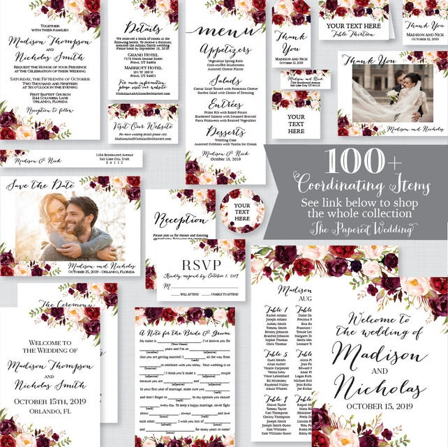 Printable Order Of Events Sign Marsala Wedding Order Of Events