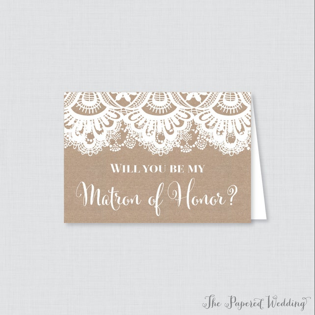 Printable Will You Be Matron of Honor Cards - Rustic Burlap and Lace Will You Be My Matron of Honor Card, Matron of Honor Proposal Card 0002
