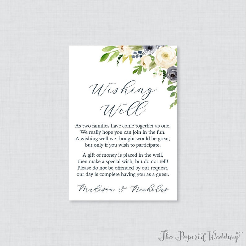 Wishing Well Wedding.Printable Or Printed Wedding Wishing Well Cards Navy And Cream Floral Wishing Well Wedding Navy Blue Flower Wishing Well Inserts 0012