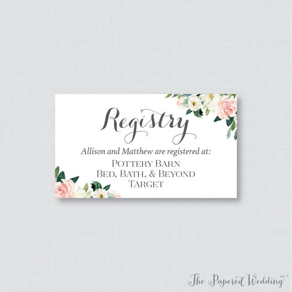 printable or printed wedding registry cards pink floral etsy