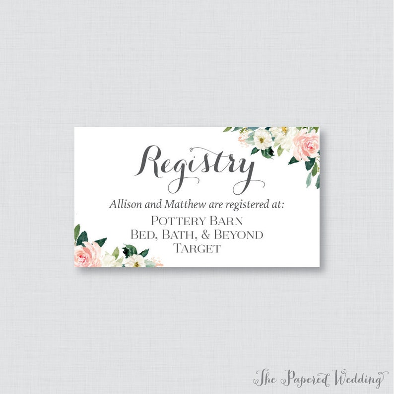 Etsy Wedding Registry.Printable Or Printed Wedding Registry Cards Pink Floral Wedding Registry Invitation Inserts Pink White Flower Registry Inserts 0017