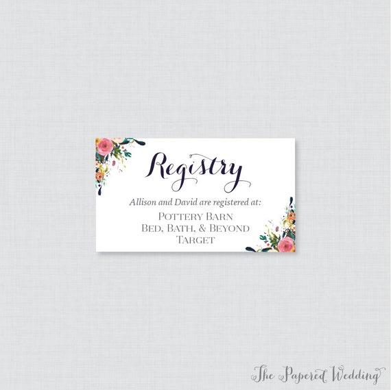 Printable Or Printed Wedding Registry Cards Floral Wedding Etsy