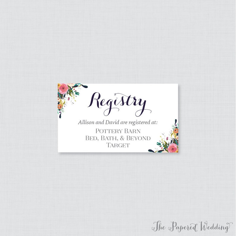 Etsy Wedding Registry.Printable Or Printed Wedding Registry Cards Floral Wedding Registry Invitation Inserts Colorful Flower Registry Inserts 0003 B