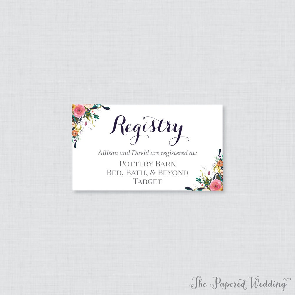 Wedding Registry Search By Name: Printable OR Printed Wedding Registry Cards Floral Wedding
