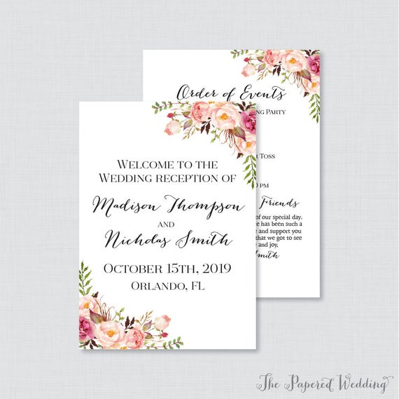 Printable Or Printed Wedding Reception Program Pink Floral Etsy