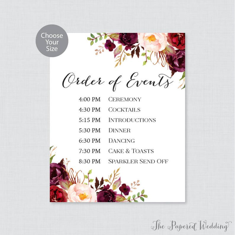 Wedding Reception Order Of Events.Printable Order Of Events Sign Marsala Wedding Order Of Events Sign Pink Rustic Flower Wedding Reception Sign Order Of Service 0006