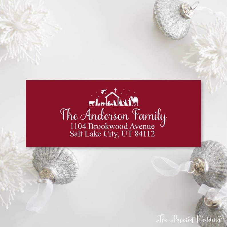 Nativity Return Address Labels Nativity Scene Themed Return Address Labels for Christmas Cards Personalized Address LabelsStickers 002
