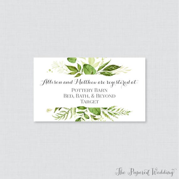 Etsy Wedding Registry.Printable Or Printed Wedding Registry Cards Green Wedding Registry Invitation Inserts Botanical Greenery Registry Inserts 0007