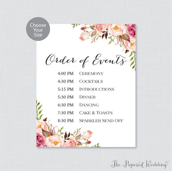 Printable Order of Events Sign Pink Wedding Order of Events | Etsy