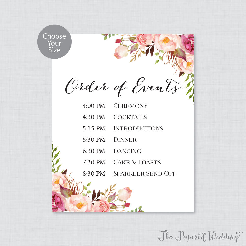 Printable Order Of Events Sign Pink Wedding Order Of Events Etsy