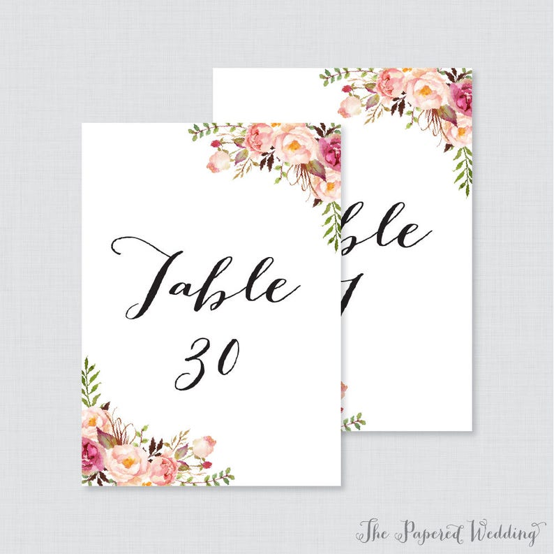 photograph regarding Printable Wedding Table Numbers identify Printable Marriage Desk Figures - Purple Floral Desk Figures for Wedding day, Instantaneous Down load Desk Quantities with Quantities 1-30 Rustic Flower 0004