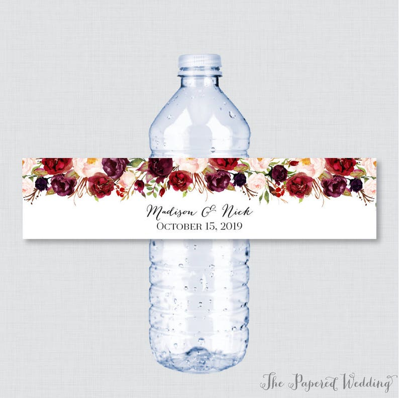 photograph about Free Printable Wedding Water Bottle Labels known as Printable OR Published Wedding ceremony Drinking water Bottle Labels - Rustic Marsala Flower Tailor made Drinking water Bottle Labels - Customized H2o Bottle Labels 0006
