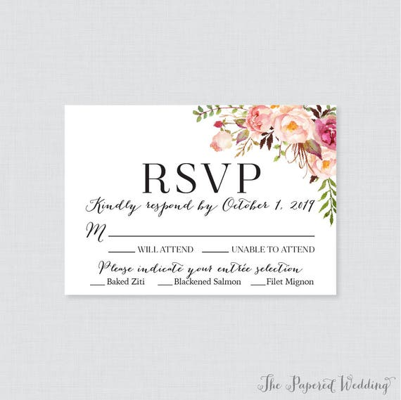 Printable OR Printed Wedding RSVP Cards Pink Floral RSVP