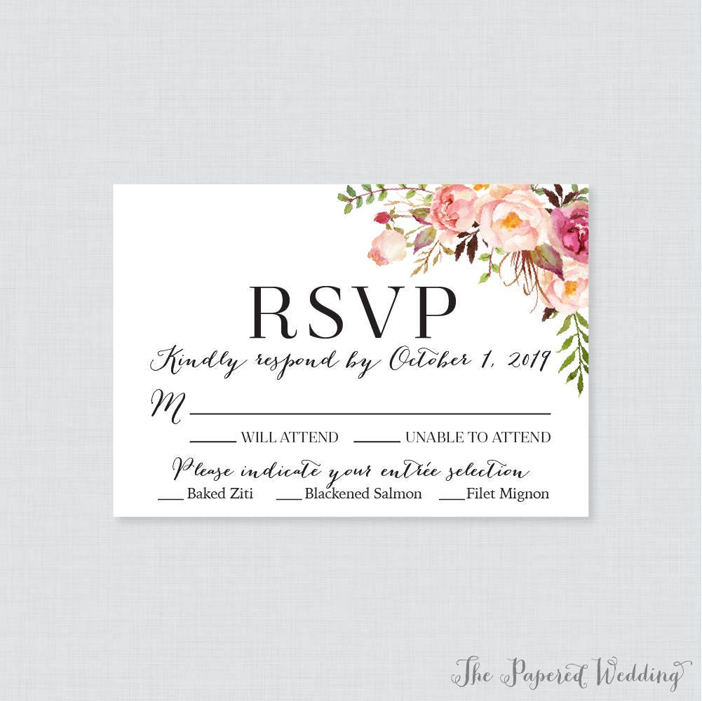 Wedding Invitation Response Cards: Printable OR Printed Wedding RSVP Cards Pink Floral RSVP