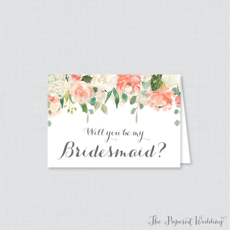 photo about Printable Will You Be My Bridesmaid named Printable Will Your self Be My Bridesmaid Playing cards - Peach Will Oneself Be My Bridesmaid Card, Peach and Product Flower Bridesmaid Proposal, Floral 0009