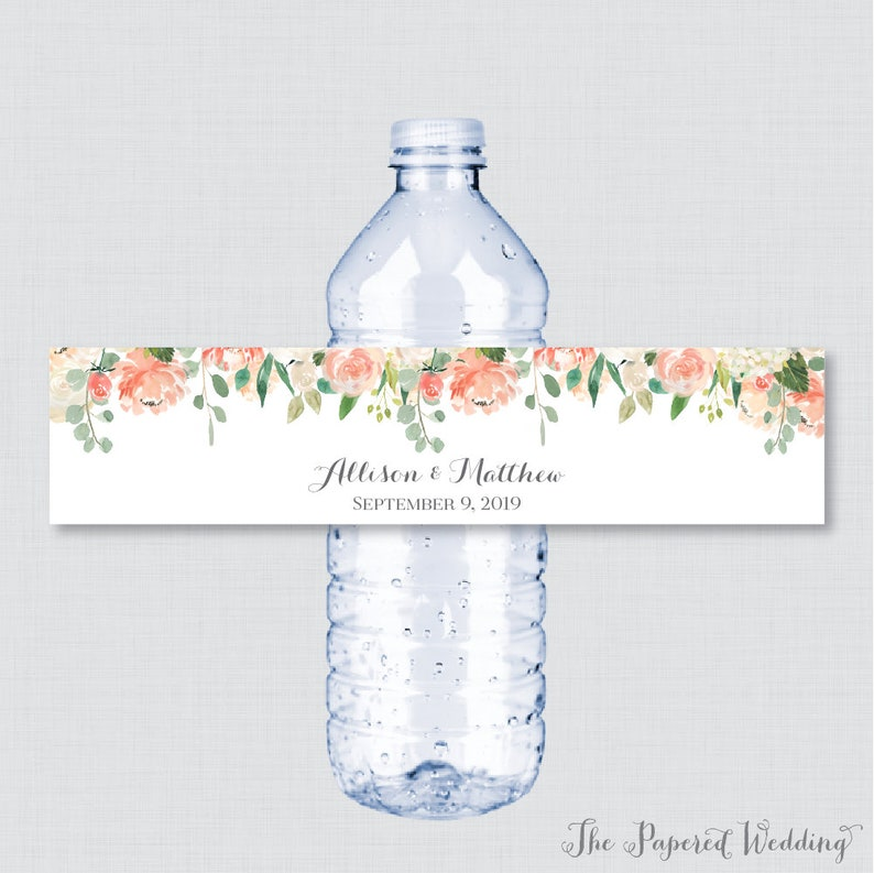 graphic regarding Free Printable Wedding Water Bottle Labels named Printable OR Published Wedding day Drinking water Bottle Labels - Peach Flower Custom made Drinking water Bottle Labels - Custom-made Flower Drinking water Bottle Labels 0009
